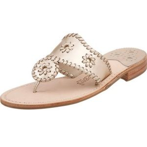Hamptons Platinum Leather Whipstitched Sandals